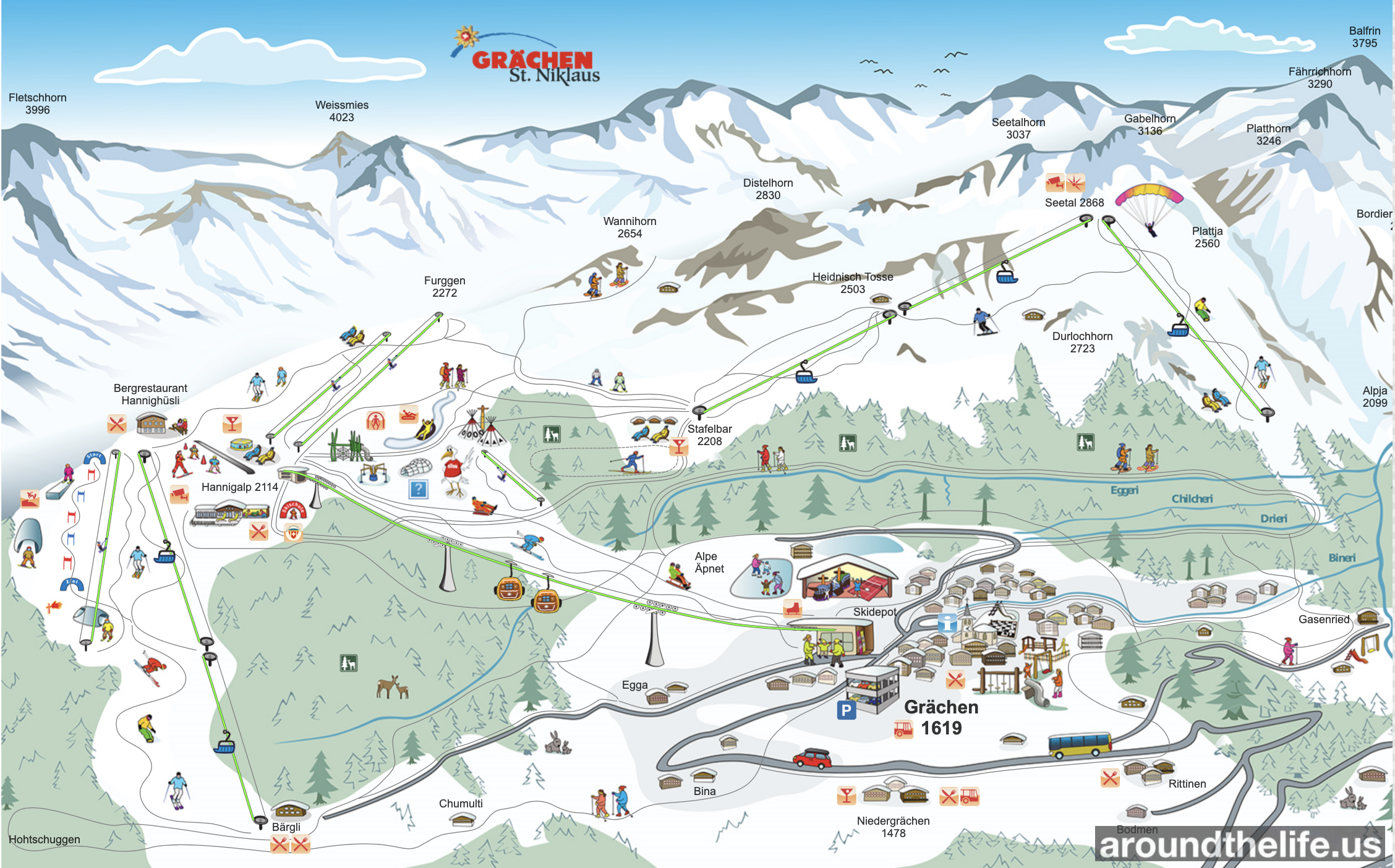Grächen St.Niklas Ski Resort Map